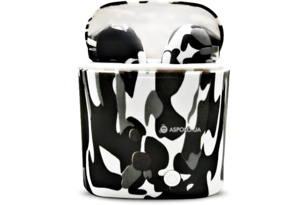 Беспроводные Bluetooth наушники HBQ i7S TWS camouflage white-black