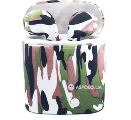 Беспроводные Bluetooth наушники HBQ i7S TWS camouflage white-green-black