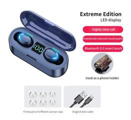 Купить Беспроводные Bluetooth наушники TWS F9 LED black в Украине