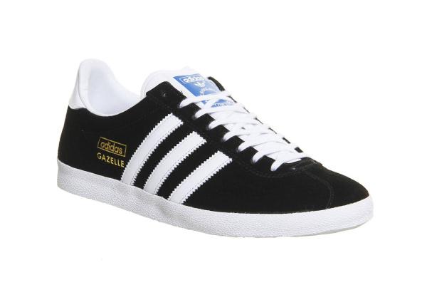 Мужские кроссовки Adidas Gazelle 2017 черные с белым