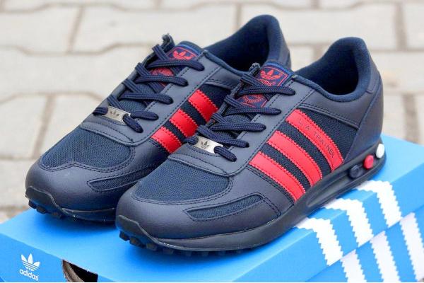Мужские кроссовки Adidas L. A. Trainer темно-синие с красным