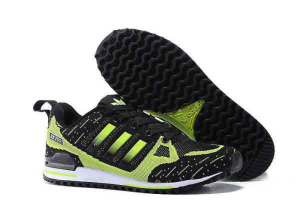 Мужские кроссовки Adidas Оriginals ZX750 Flyknit зеленые с черным