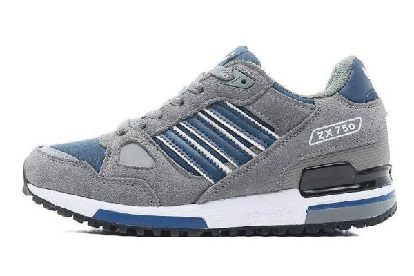 Мужские кроссовки Adidas Оriginals ZX750 серые с синим
