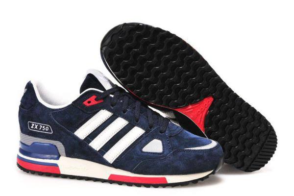 Мужские кроссовки Adidas Оriginals ZX750 темно синие