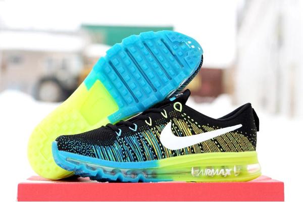 Мужские кроссовки Nike Air 2016 черные с салатовым и голубым