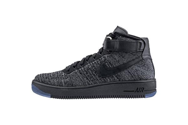 Мужские кроссовки Nike Air Force 1 High Flyknit черные с серым