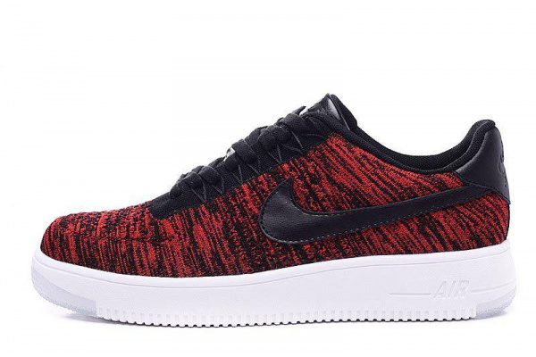 Мужские кроссовки Nike Air Force 1 Low Flyknit красные с черным