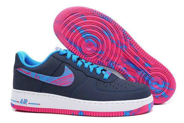 Мужские кроссовки Nike Air Force 1 Low темно-синие с малиновым