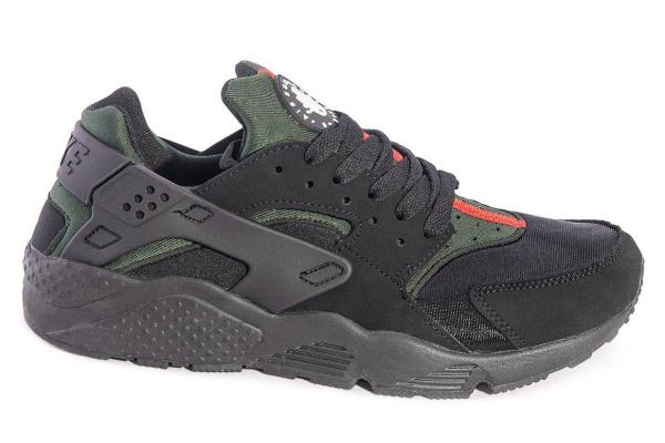Мужские кроссовки Nike Air Huarache черные с зеленым