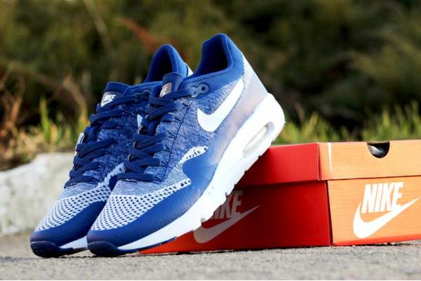 Мужские кроссовки Nike Air Max 1 Ultra Flyknit синие с белым