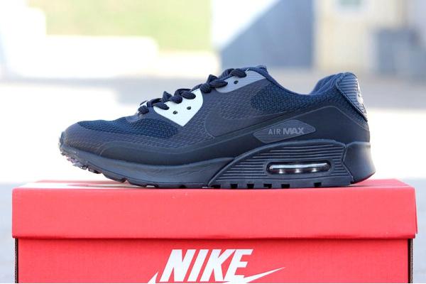 Мужские кроссовки Nike Air Max 90 Hyperfuse темно-синие с серым