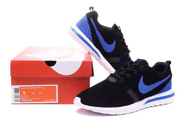 Мужские кроссовки Nike Air Roshe Run черные с синим