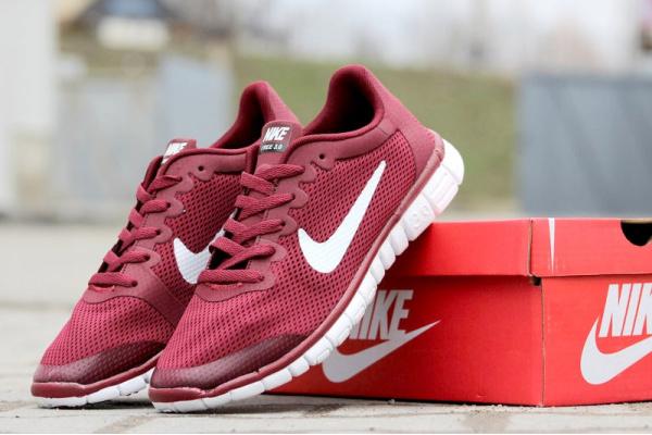 Мужские кроссовки Nike Free Run 3.0 бордовые