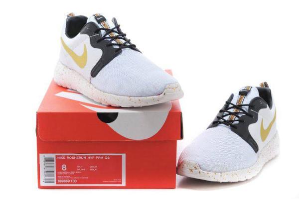 Мужские кроссовки Nike Roshe Run белые с желтым