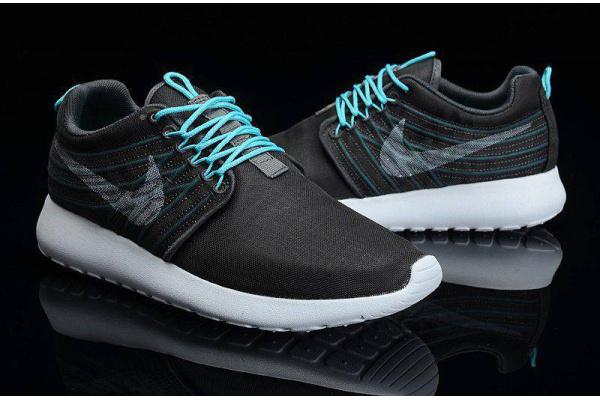 Мужские кроссовки Nike Roshe Run черные с бирюзовым