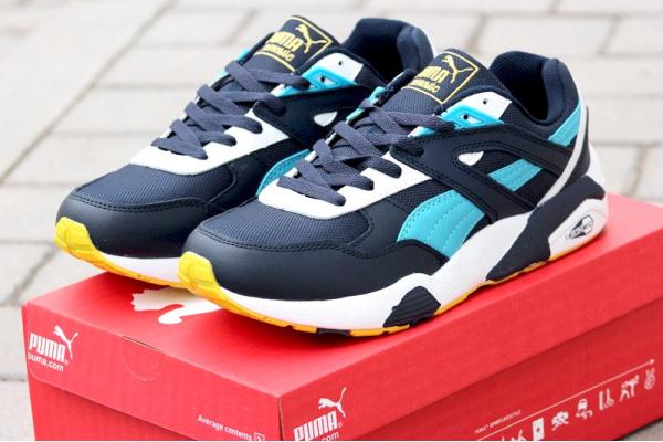 Мужские кроссовки Puma Trinomic R698 синие с голубым