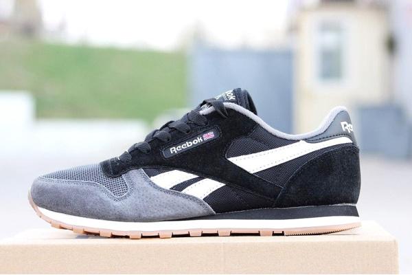 Мужские кроссовки Reebok Classic Leather черные с серым