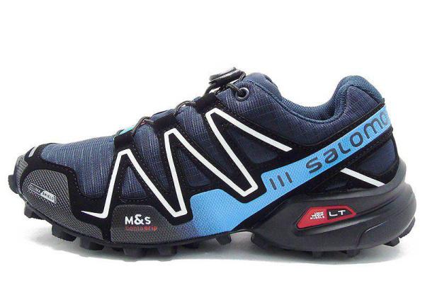 Мужские кроссовки Salomon SpeedCross 3 темно-синие с голубым