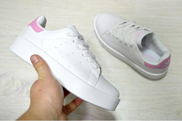 Женские кроссовки Adidas Originals Stan Smith Bold белые с розовым