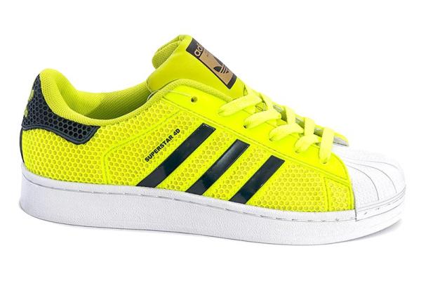 Женские кроссовки Adidas Superstar 4D неоново-желтые