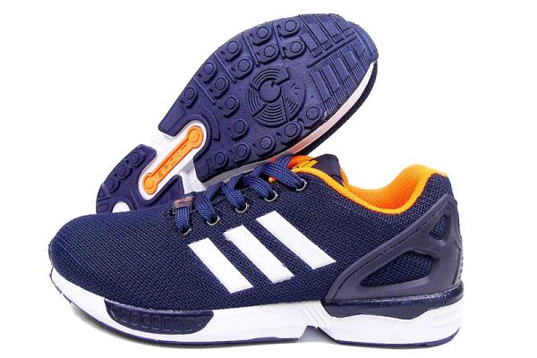 Женские кроссовки Adidas Torsion ZX Flux темно-синие с оранжевым
