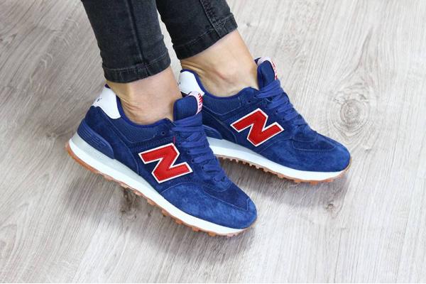 Женские кроссовки New Balance 574 синие с красным и белым