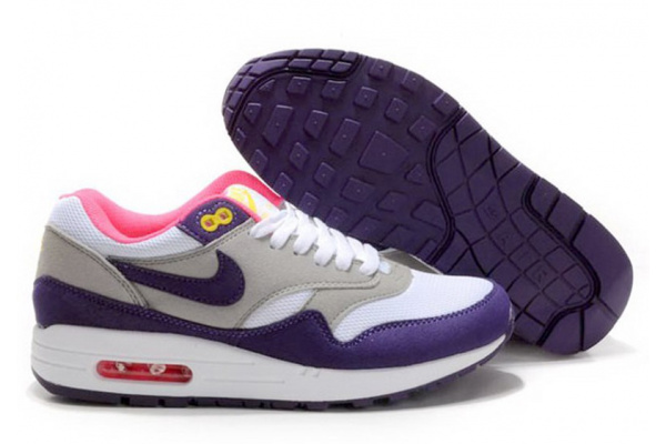 Женские кроссовки Nike Air Max 87 серые с фиолетовым