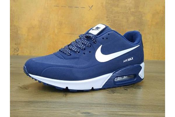 Женские кроссовки Nike Air Max 90 Hyperfuse темно-синие с белым
