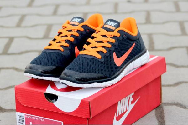 Женские кроссовки Nike Free Run 3.0 темно-синие с оранжевым