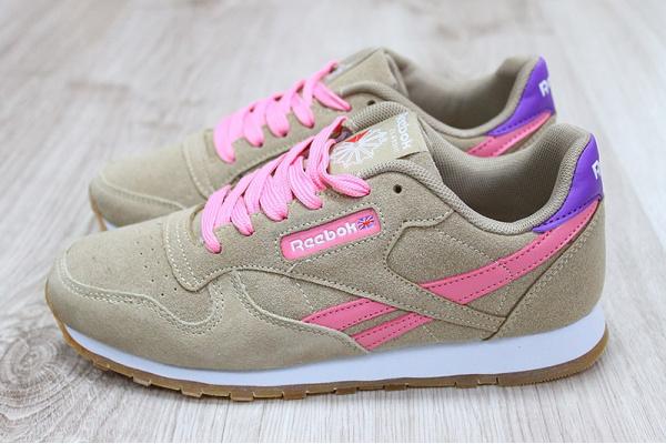 Женские кроссовки Reebok Classic Leather бежевые с розовым