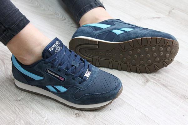 Женские кроссовки Reebok Classic Leather синие с голубым