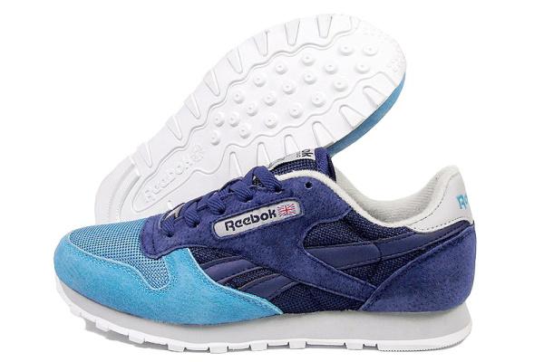 Женские кроссовки Reebok Classic Leather темно-синие с голубым