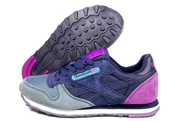 Женские кроссовки Reebok Classic Leather темно-синие с розовым и бирюзовым