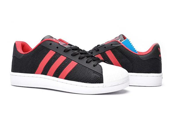 Женские кроссовки Adidas Superstar 4D черные с красным