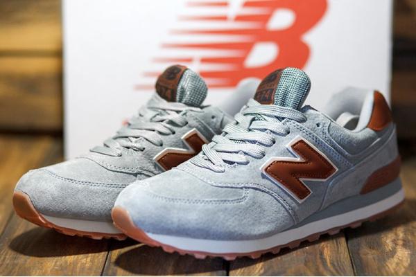 Мужские кроссовки New Balance 574 серые с коричневым