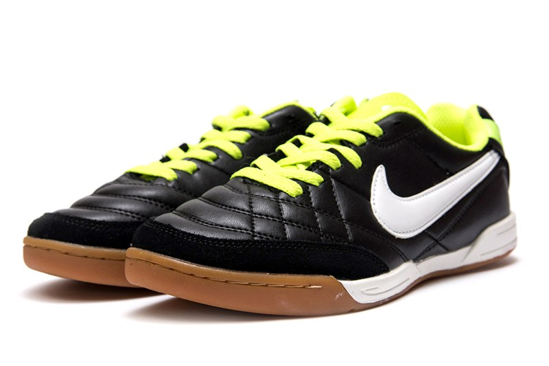 5e834289 Мужские кроссовки Nike Tiempo Natural IV LTR IC черные с неоново-зеленым