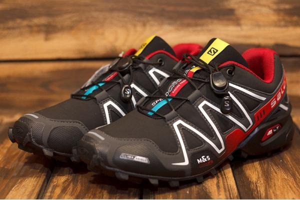 Мужские кроссовки Salomon SpeedCross 3 черные с красным