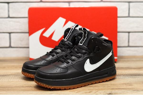 Мужские высокие кроссовки Nike Lunar Force 1 черные с белым