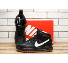 Купить Мужские высокие кроссовки Nike Lunar Force 1 черные с белым в Украине