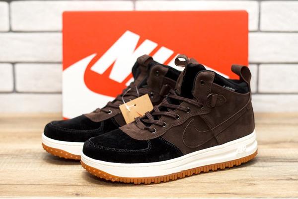 Мужские высокие кроссовки Nike Lunar Force 1 коричневые