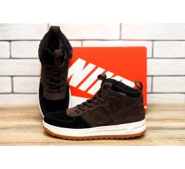 Купить Мужские высокие кроссовки Nike Lunar Force 1 коричневые в Украине
