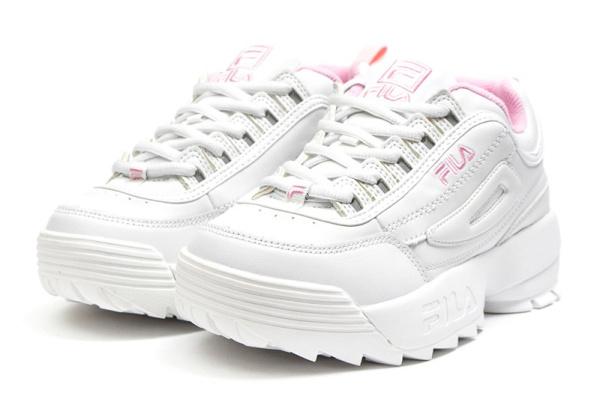 Женские кроссовки Fila Disruptor II белые с розовым