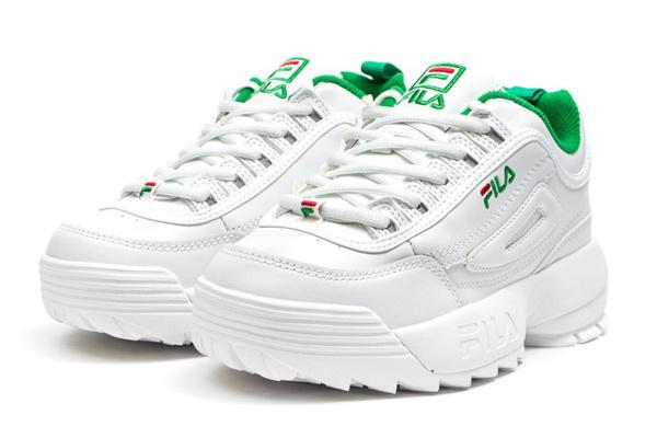 Женские кроссовки Fila Disruptor II белые с зеленым