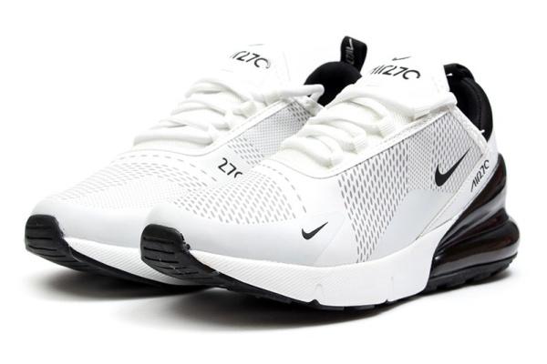 Женские кроссовки Nike Air Max 270 белые с черным