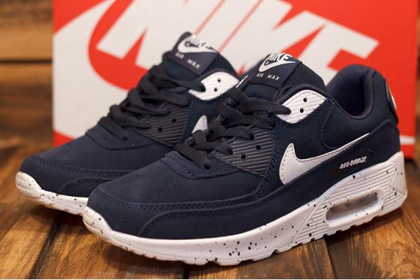 Женские кроссовки Nike Air Max 90 темно-синие с белым