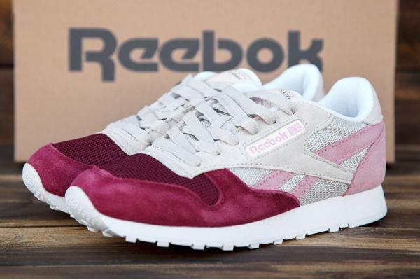 Женские кроссовки Reebok Classic Leather бежевые с бордовым
