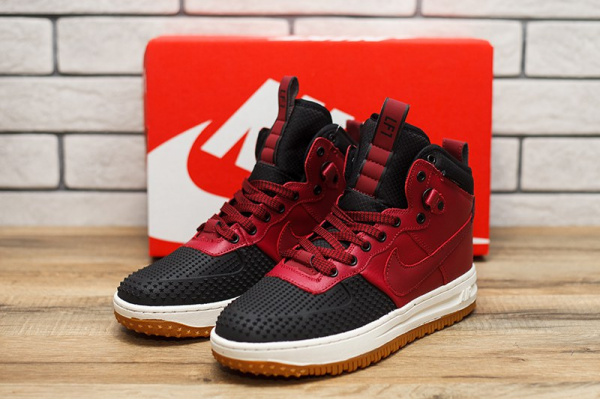 Женские высокие кроссовки Nike Lunar Force 1 Duckboot красные с черным