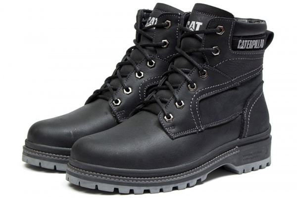 Мужские ботинки на меху CAT черные