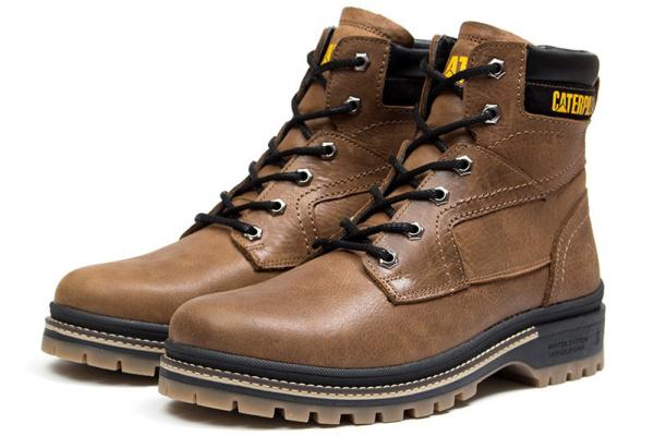 Мужские ботинки на меху CAT коричневые