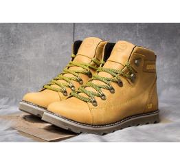 Мужские ботинки на меху CAT светло-коричневые